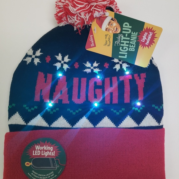 6033cf9d489c8 Naughty or Nice Christmas Light Up Beanie Hat NWT. Boutique